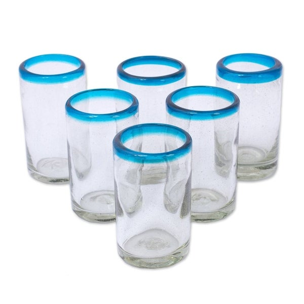 "Handmade Recycled Glass Tumblers Sky Blue Halos Set of 6 (Mexico) - 4.3"" H x 2.6"" Diam.. Opens flyout."