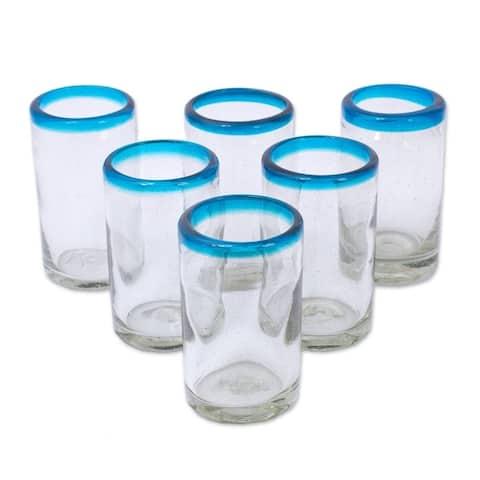 "Handmade Recycled Glass Tumblers Sky Blue Halos Set of 6 (Mexico) - 4.3"" H x 2.6"" Diam."