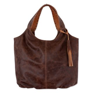 Handmade Leather Hobo Handbag, 'Honey Brown Belle' (Mexico)