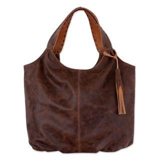 Handmade Leather Hobo Handbag, 'Honey Brown Belle' (Mexico)