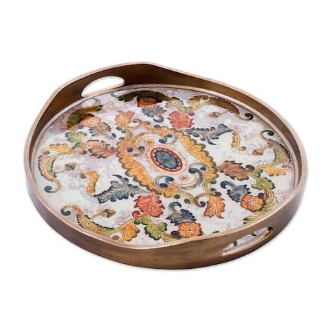 Handmade Reverse Painted Glass Tray Floral Heaven (Peru)