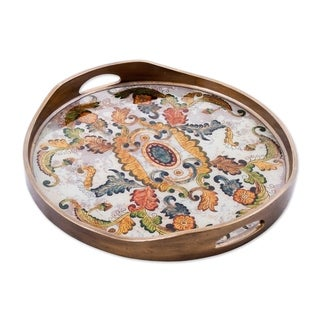 Handmade Reverse Painted Glass Tray, 'Floral Heaven' (Peru)