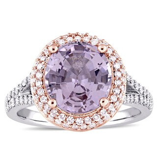 Miadora Signature Collection 14k White Gold Spinel and 3/4ct TDW Diamond Halo Ring (G-H, SI1-SI2)