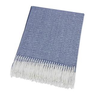 Handmade Baby Alpaca Throw, 'Indigo Love' (Peru)