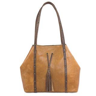Handmade Leather Shoulder Bag, 'Monaco' (Mexico)