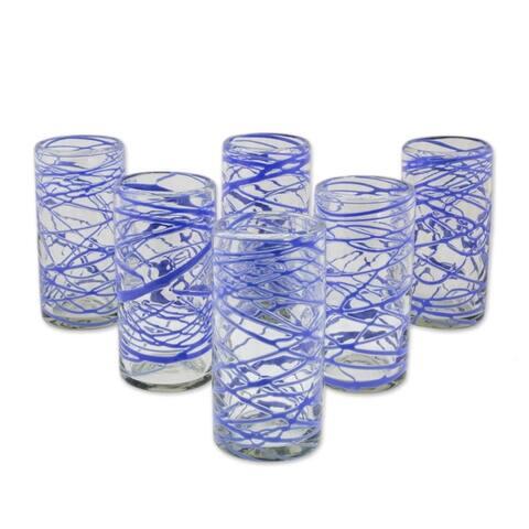 Handmade Blown Glass High Ball Glasses Sapphire Swirl Set of 6 (Mexico)