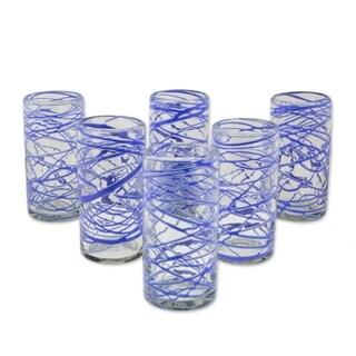 Handmade Set of 6 Blown Glass High Ball Glasses, 'Sapphire Swirl' (Mexico)