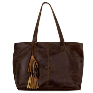 Handmade Leather Shoulder Bag, 'Capacious in Dark Brown' (Mexico)