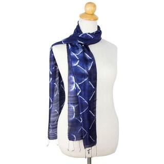 Handmade Silk Scarf, 'Sapphire Mystique' (Thailand)