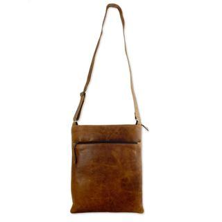 Handmade Leather Shoulder Bag, 'Caramel Paths' (Mexico)
