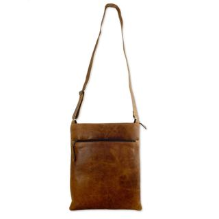 Handmade Leather Shoulder Bag, 'Caramel Paths' (Mexico)