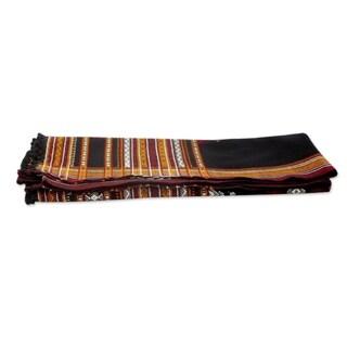 Handmade Throw Blanket, 'Midnight Mood' (India)