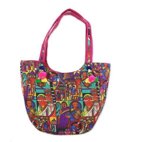 Handmade Tote Handbag, 'Cycle of Generations' (India)