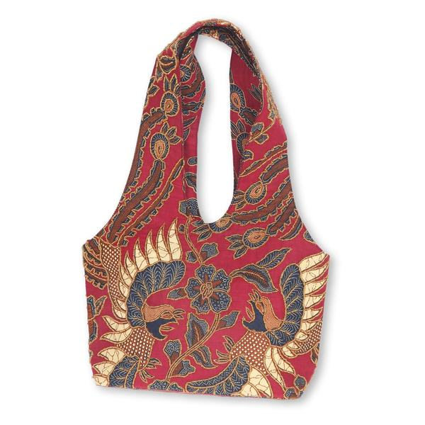 Handmade Beaded Cotton Batik Shoulder Bag, 'Red Sawunggaling' (Indonesia)