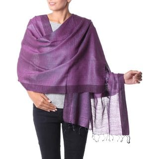 Handmade Silk and Cotton Blend Shawl, 'Bhagalpur Dawn' (India)