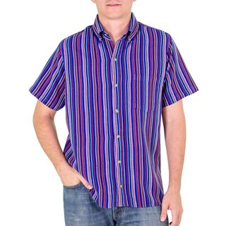 Men's Handmade Cotton 'Colorful Guatemala' Short Sleeve Shirt (Guatemala)