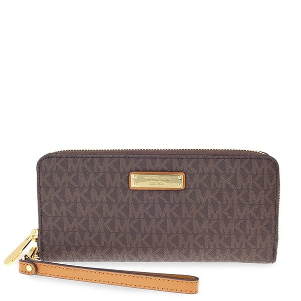 aa42287b22e1 Shop Michael Kors Jet Set Brown Continental Wristlet - Free Shipping ...
