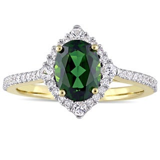 Miadora Signature Collection 14k Yellow Gold Chrome Diopside White Sapphire and 1/4ct TDW Diamond Engagement Ring (G-H,I1-I2)