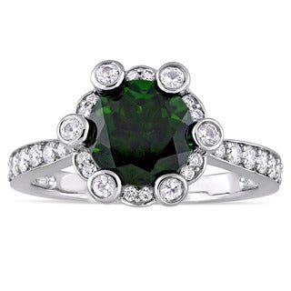 Miadora Signature Collection 14k White Gold Chrome Diopside White Sapphire 1/2ct TDW Diamond Quad Engagement Ring (G-H,SI1-SI2)