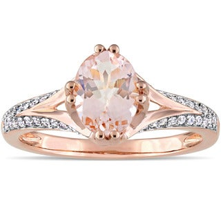 Miadora Signature Collection 14k Rose Gold Morganite and 1/5ct TDW Diamond Split Shank Engagement Ri