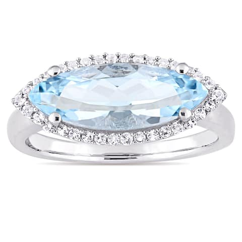 Miadora Sterling Silver Marquise-Cut Sky-Blue Topaz and White Topaz Halo Cocktail Ring