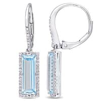 Miadora Sterling Silver Baguette-Cut Sky-Blue Topaz and White Sapphire Halo Dangle Leverback Earrings