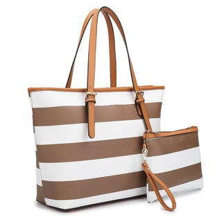 Dasein Large Classic Striped Tote Bag with Matching Accessory Bag