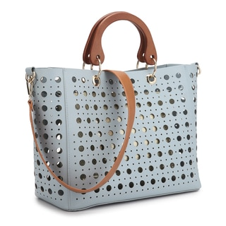 Dasein Wooden Handle Sequins Tote Bag