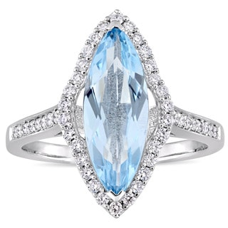 Miadora Signature Collection 14k White Gold Marquise-Cut Sky-Blue Topaz 1/3ct TDW Diamond Halo Cocktail Ring (G-H, SI1-SI2)