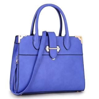 Dasein Snap Around Gold Belted Accent Satchel Handbag