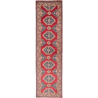 Ecarpet Gallery Hand-Knotted Finest Gazni Ivory/ Red Wool Rug (2'8 x 10'4)