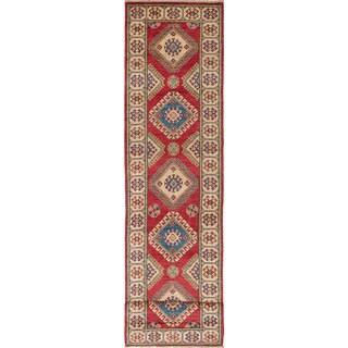 Hand-knotted Finest Gazni Cream, Red Wool Rug - 2'7 x 11'6