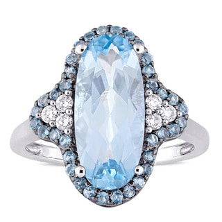 Miadora Signature Collection 14k White Gold Sky & London Blue Topaz 1/8ct TDW Diamond Quatrefoil Cocktail Ring (G-H,SI1-SI2)