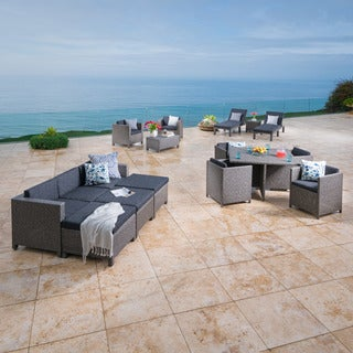 Puerta Outdoor 17-piece Wicker Patio Set with Cushions by Christopher Knight Home