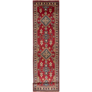 Hand-knotted Finest Gazni Cream, Red Wool Rug - 2'8 x 11'4