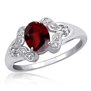 Jewelonfire Sterling Silver 1ct TGW Garnet and White Diamond Accent Ring