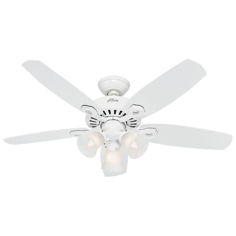 """Hunter 42"""" Builder Ceiling Fan with LED Light Kit and Pull Chain - Snow White - Snow White"""