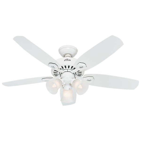 """Hunter 42"""" Builder Ceiling Fan with LED Light Kit and Pull Chain - Snow White"""
