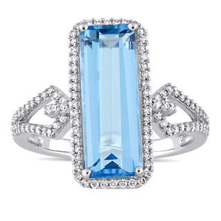 Miadora Signature Collection 14k White Gold Octagon-Cut Swiss-Blue Topaz and 1/3ct TDW Diamond Halo Cocktail Ring (G-H,SI1-SI2)