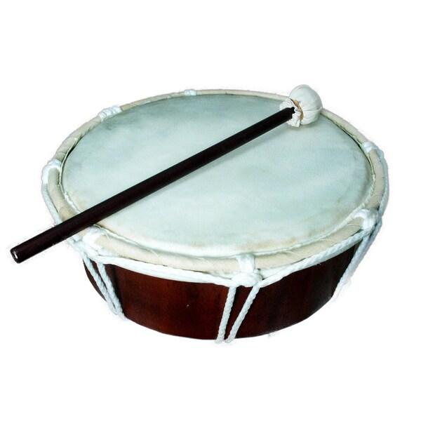 Handmade Drum W/Stick Natural (Indonesia)