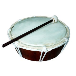 Handmade Drum W/Stick Natural (Indonesia)