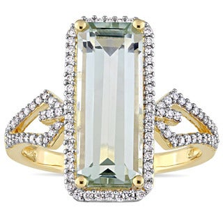 Miadora Signature Collection 14k Yellow Gold Octagon-Cut Green Amethyst and 1/3ct TDW Halo Cocktail Ring (G-H,SI1-SI2)