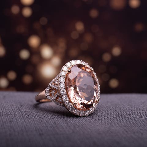 Miadora Signature Collection 14k Rose Gold Oval-Cut Morganite and 1 2/5ct TDW Diamond Halo Cocktail Ring (G-H, SI1-SI2)