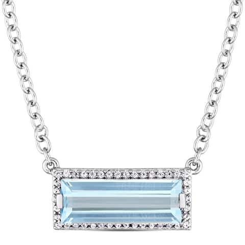 Miadora Sterling Silver Baguette-Cut Sky-Blue Topaz and White Sapphire Bar Necklace - Blue