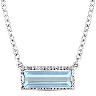 Miadora Sterling Silver Baguette-Cut Sky-Blue Topaz and White Sapphire Bar Necklace