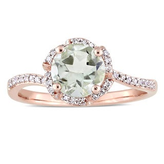 Miadora Signature Collection 14k Rose Gold Green Amethyst and 1/10ct TDW Diamond Flower Twist Slender Band Ring (G-H, I1-I2)