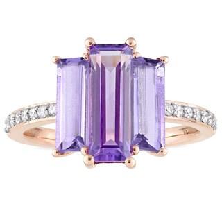 Miadora Signature Collection 14k Rose Gold Baguette-Cut African-Amethyst & Rose de France 1/7ct TDW Diamond Ring (G-H,I1-I2)