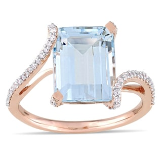 Miadora Signature Collection 14k Rose Gold Octagon-Cut Aquamarine and 1/4ct TDW Diamond Bypass Ring (G-H, I1-I2)