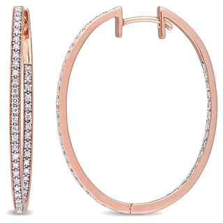 Miadora Signature Collection 10k Rose Gold 2/5ct TDW Diamond Inside-Outside Slender Hoop Earrings (G-H, I1-I2)