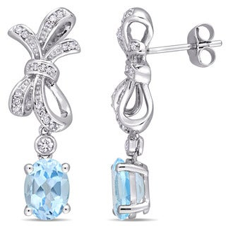Miadora Signature Collection 10k White Gold Sky-Blue Topaz White Sapphire 1/8ct TDW Diamond Bow Dangle Earrings (G-H,I2-I3)